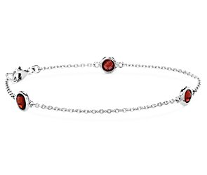 Garnet Chain Bracelet in Sterling Silver