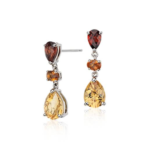 Madeira Citrine, Citrine, and Garnet Earrings in 14k White Gold