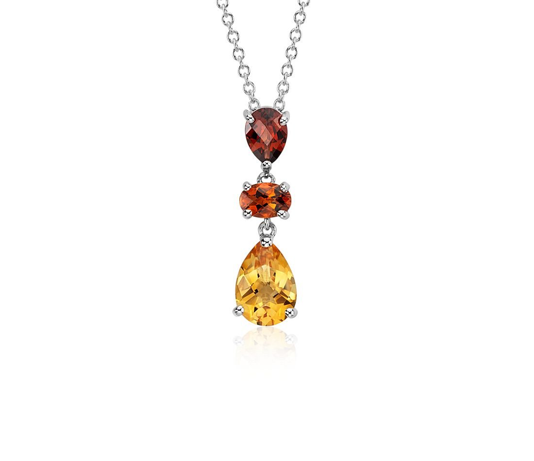 Madeira Citrine, Citrine, and Garnet Pendant in 14k White Gold
