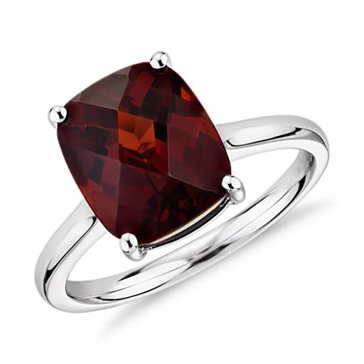 Garnet Cushion Cut Ring in 14k White Gold (11x9mm)