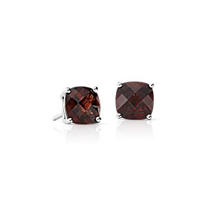 Garnet Cushion Earrings in Sterling Silver (8mm)