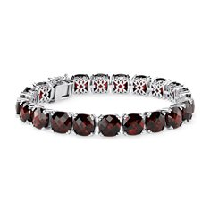 Garnet Cushion Bracelet (8mm) in Sterling Silver