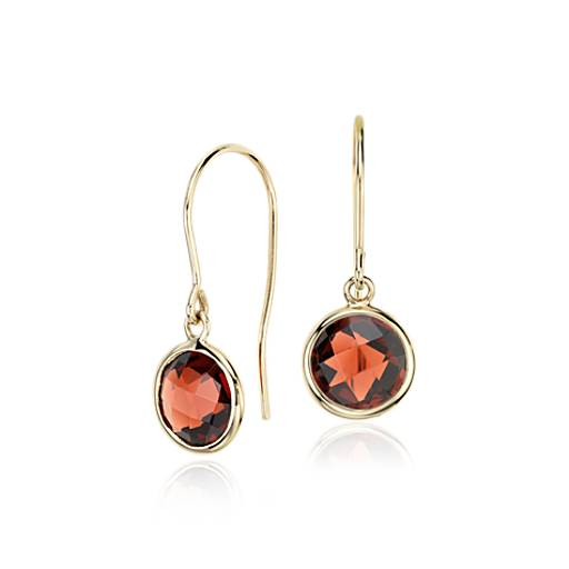 Garnet Solitaire Earrings in 14k Yellow Gold (7mm)