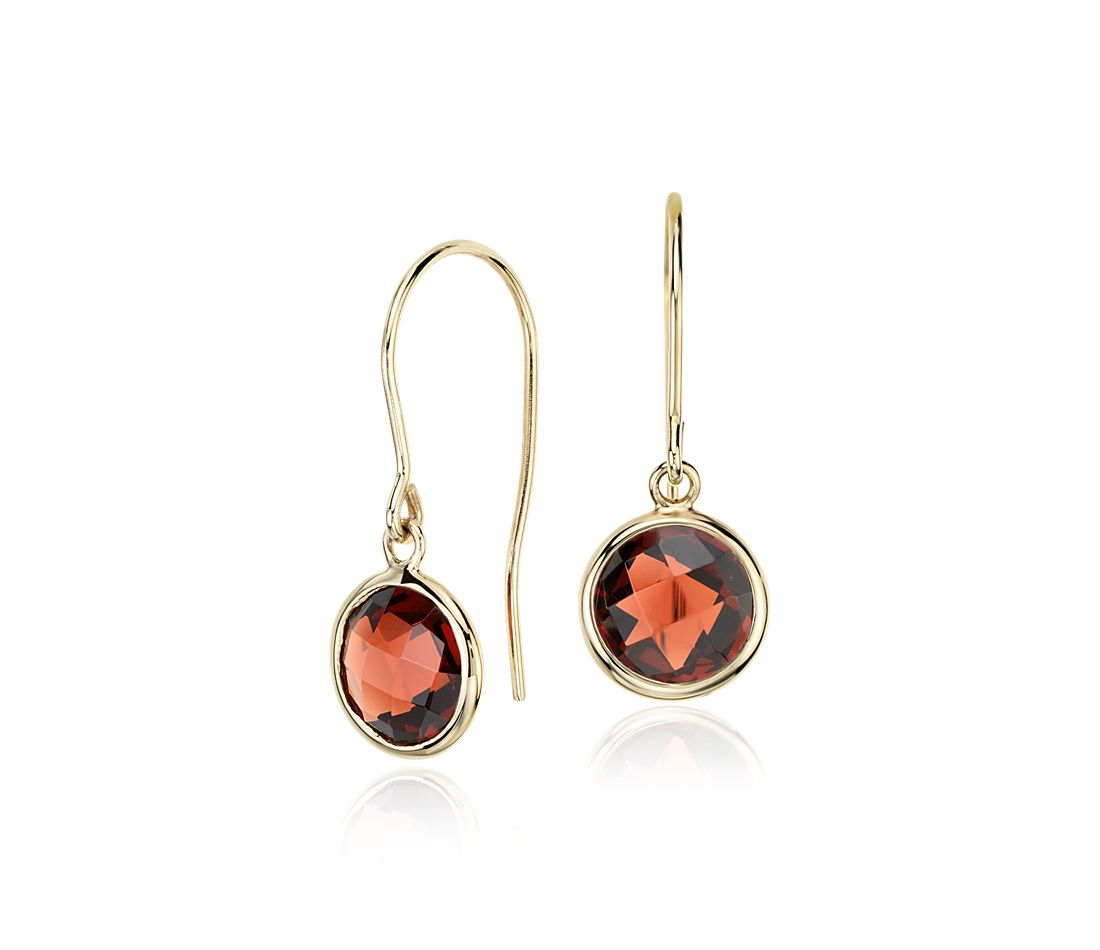 Garnet Solitaire Earrings in 14k Yellow Gold