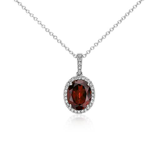 Garnet and Diamond Pendant in 14k White Gold (10x8mm)