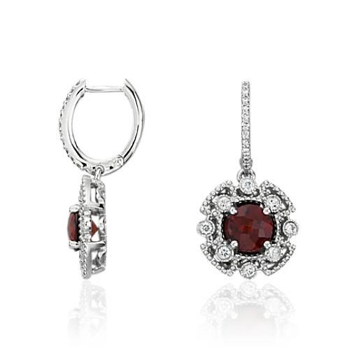 Garnet and Diamond Drop Earrings in 14k White Gold