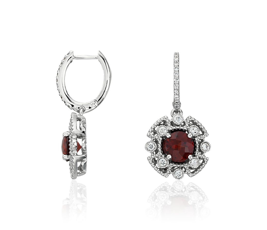 Garnet and Diamond Drop Earrings in 14k White Gold