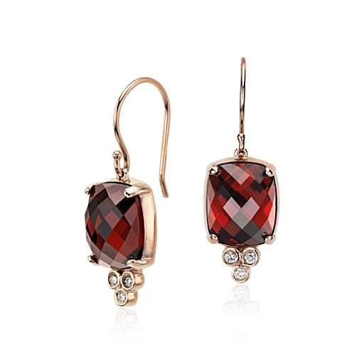 Robert Leser Trinity Garnet and Diamond Earrings in 14k Rose Gold (11x9mm)