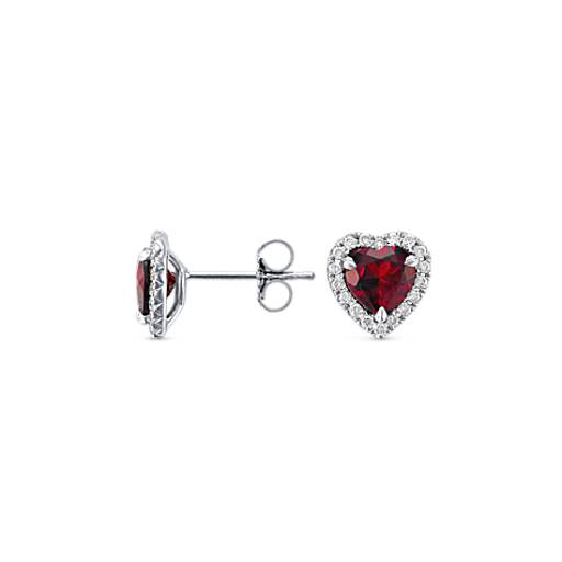 Heart-Shaped Garnet and Micropavé  Diamond Earrings in 18k White Gold (6mm)