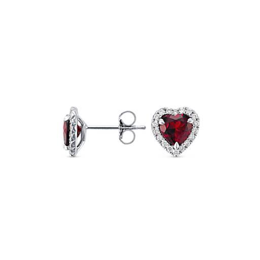 Boucles d'oreilles diamants sertis pavé et grenat en forme de cœur en or blanc 18carats (6mm)
