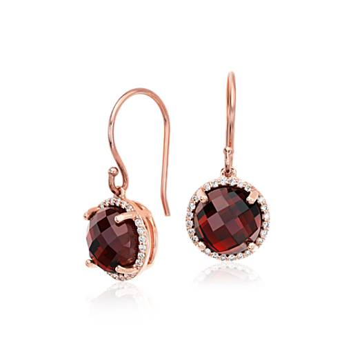 Garnet and Diamond Halo Drop Earrings in 14k Rose Gold (8mm)
