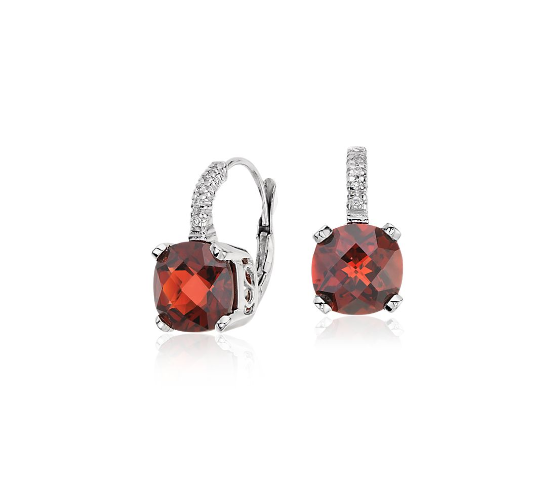 Garnet and Diamond Cushion Earrings in 14k White Gold (8x8mm)
