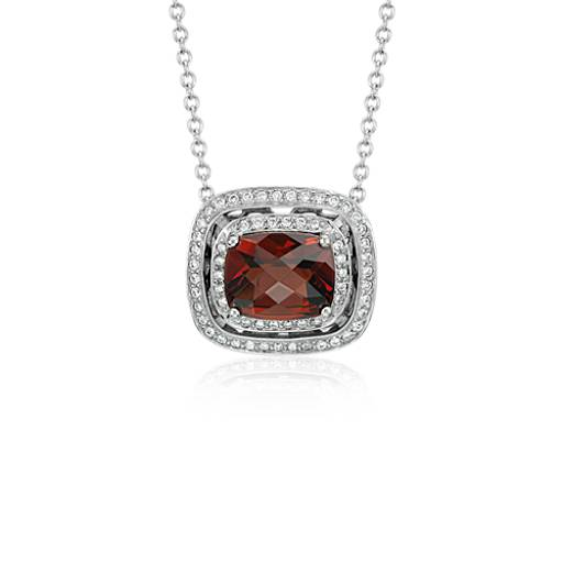 Garnet and Double Diamond Halo Necklace in 14k White Gold
