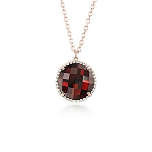 Garnet and Diamond Halo Pendant in 14k Rose Gold (12mm)