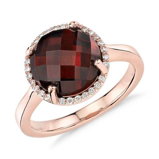 NEW Garnet and Diamond Halo Ring in 14k Rose Gold (10mm)