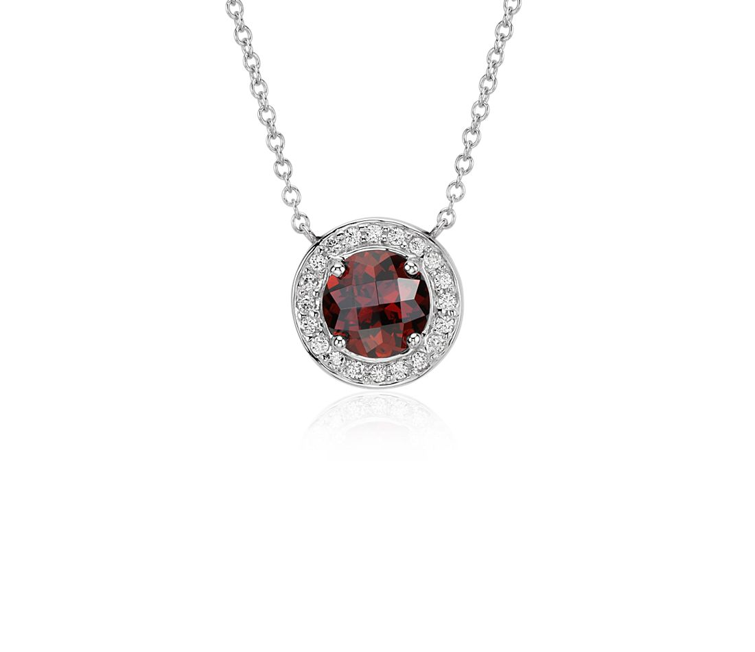 Garnet and Diamond Round Necklace in 14k White Gold