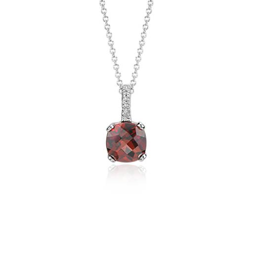 Garnet and Diamond Cushion Pendant in 14k White Gold (8x8mm)