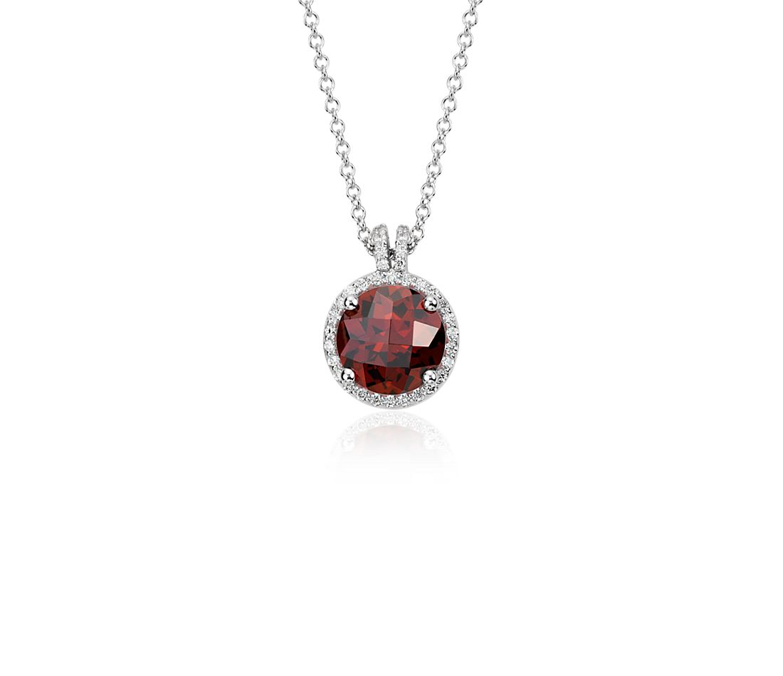 Garnet and Diamond Petite Halo Pendant in 14k White Gold (8mm)