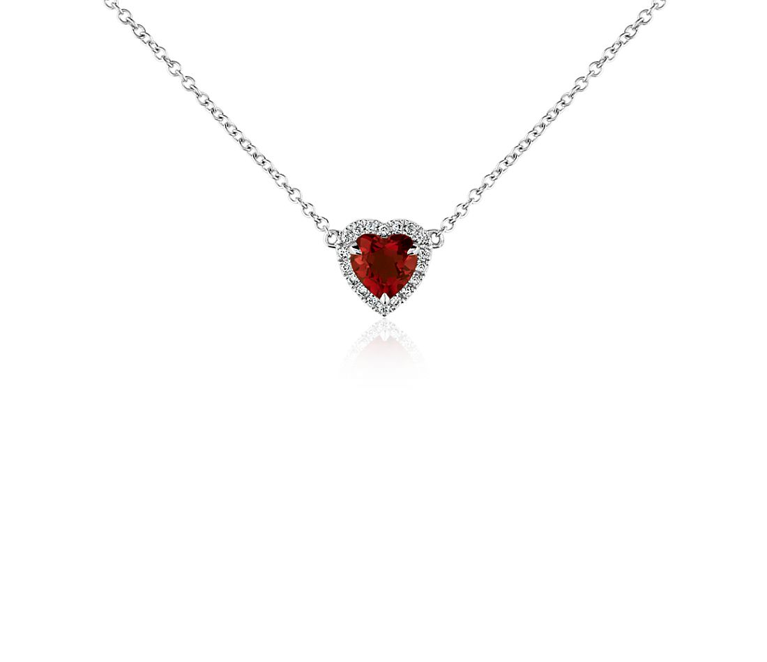 Heart-Shaped Garnet and Diamond Pendant in 18k White Gold