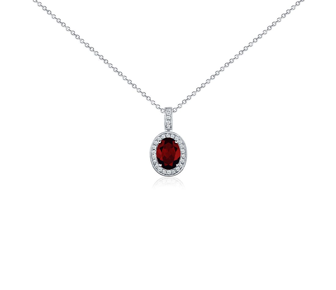 Oval Garnet and Diamond Pendant in 18k White Gold (8x6 mm)