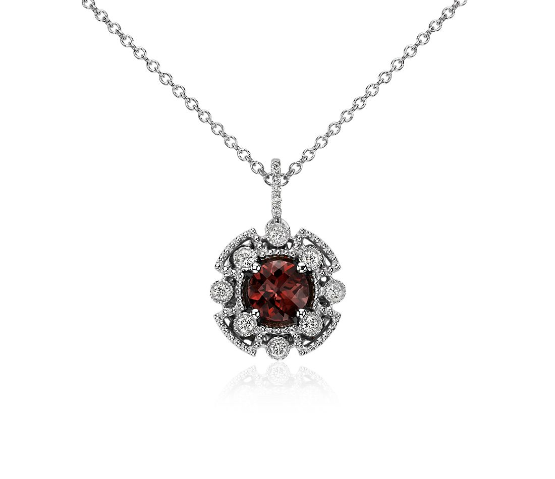 Garnet and Diamond Pendant in 14k White Gold