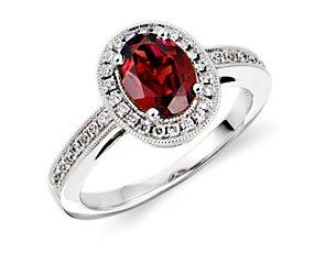 Garnet and Diamond Ring in 18k White Gold (8x6mm)