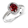 Garnet and Diamond Ring in 18k White Gold (8x6mm)
