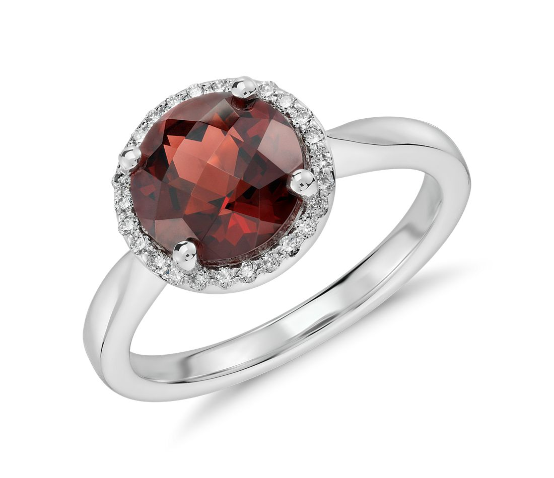 garnet and halo ring in 14k white