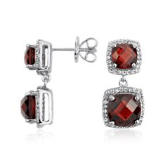Garnet Double Drop Halo Stud Earrings in Sterling Silver