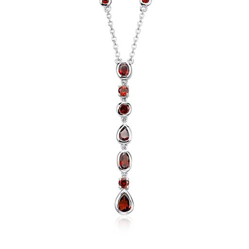 Garnet Drop Necklace in Sterling Silver