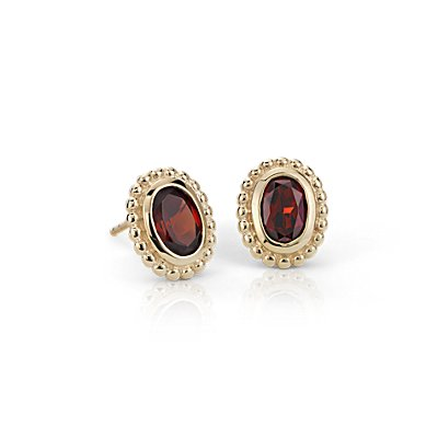 Garnet Earrings in 14k Yellow Gold (7x5mm)