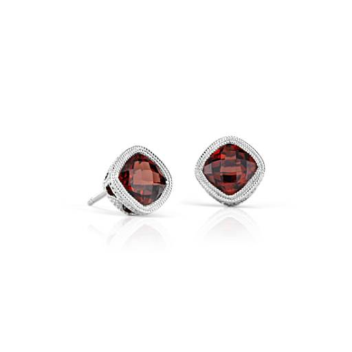 Garnet Cushion Milgrain Stud Earrings in Sterling Silver (6mm)