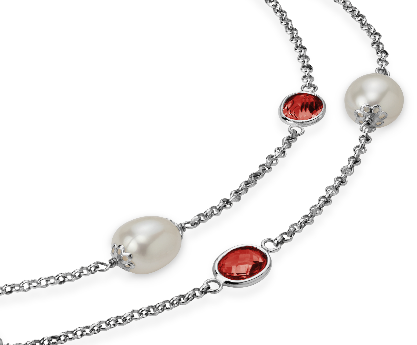 Collar de granate y perlas cultivadas de agua dulce en plata de ley - 36