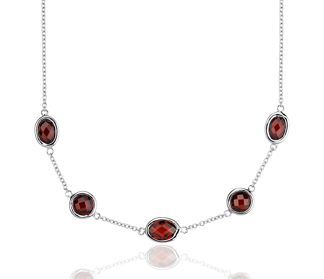 Garnet Stationed Necklace in Sterling Silver