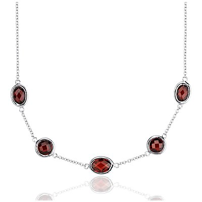 Garnet 5 Stone Stationed Necklace in Sterling Silver