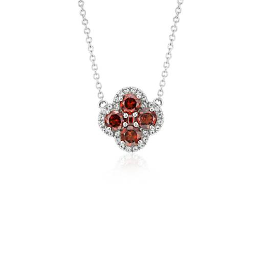 Garnet Halo Clover Necklace in Sterling Silver (4mm)
