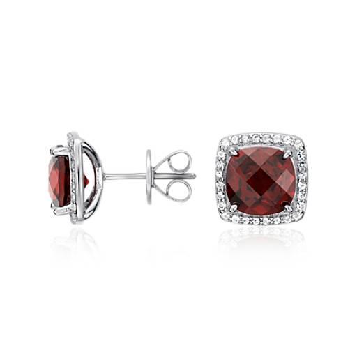 Garnet Halo Stud Earrings in Sterling Silver (8x8mm)