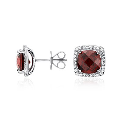 Garnet Halo Stud Earrings in Sterling Silver (8x8mm)