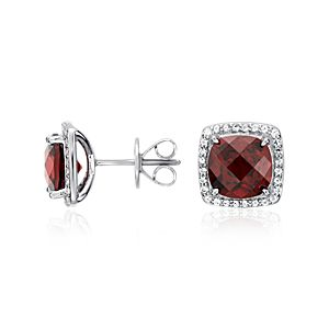 Garnet Halo Stud Earrings in Sterling Silver