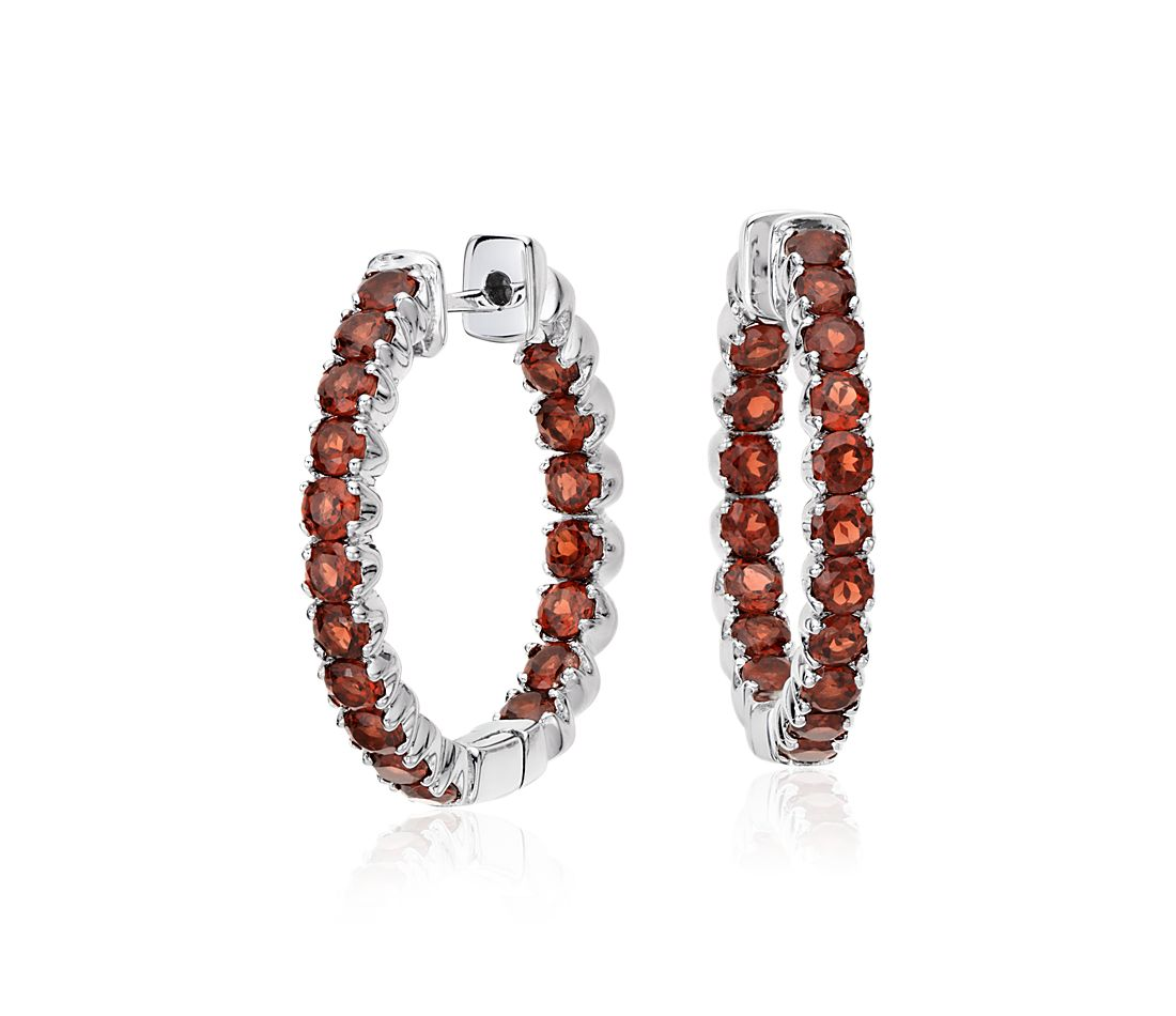 Garnet Hoop Earrings in Sterling Silver