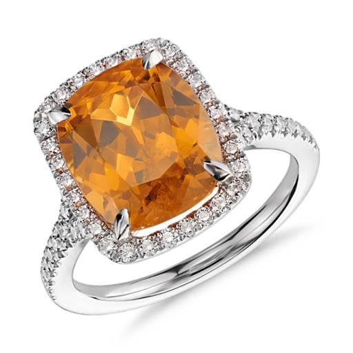 Bague halo de diamants et grenat mandarine en platine (6,43 ct au centre)<br>(11,2x9,5mm)