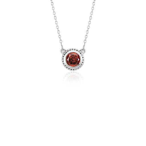 Garnet Milgrain Necklace in Sterling Silver (5mm)