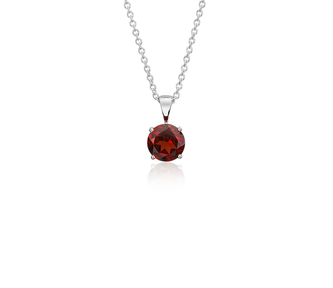 Garnet Solitaire Pendant in 18k White Gold (7mm)
