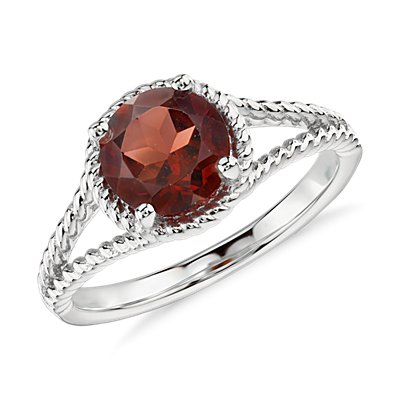 NEW Garnet Rope Ring in Sterling Silver (7mm)