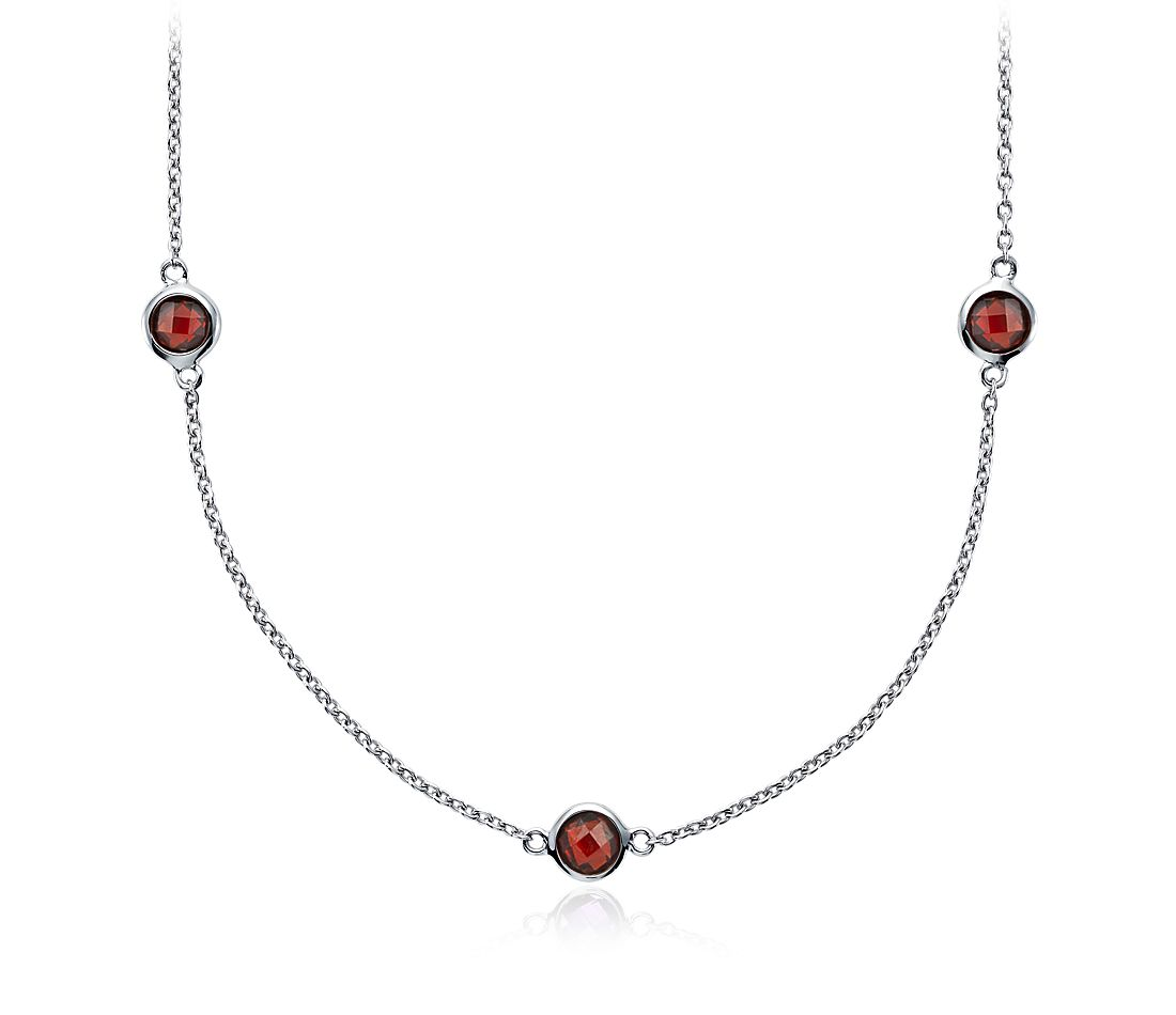 Garnet Chain Necklace in Sterling Silver