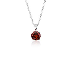 NEW Garnet Solitaire Pendant in 14k White Gold (7mm)