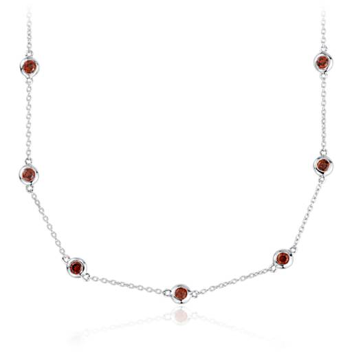 Garnet Stationed Necklace in Sterling Silver (3mm)