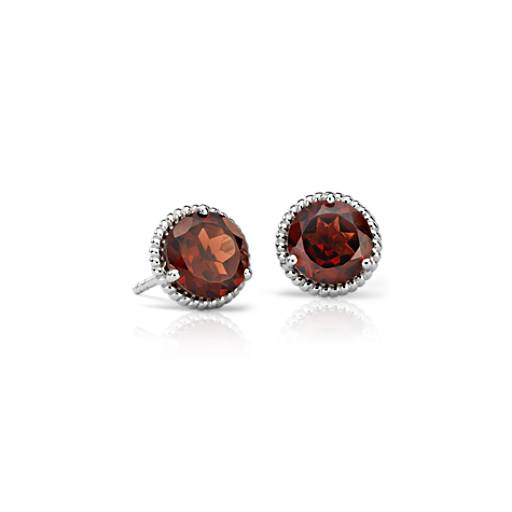Garnet Rope Stud Earrings in Sterling Silver (7mm)