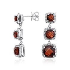 Garnet Triple Halo Drop Earrings in Sterling Silver