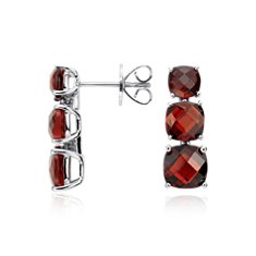 Garnet Triple Drop Stud Earrings in Sterling Silver